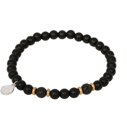 Beads bracelet, onyx + lava stone, black/gold