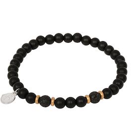Beadsarmband, Onyx + lavasten, svart/guld