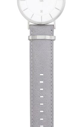 Watch strap, leather, grey