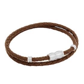 Läderarmband, flätat dubbel/ståldetaljer, brunt
