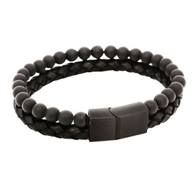 Bracelet, leather/onyx, black