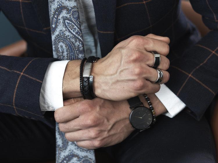 Läderarmband, fläta, svart
