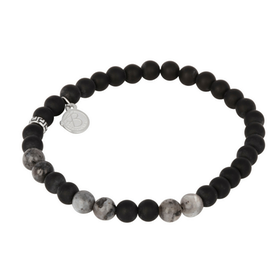 Beads bracelet, Jaspis + Onyx, grey/black