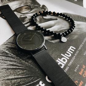 Douglas Mesh Watch, black + beaded bracelet, black/gold set