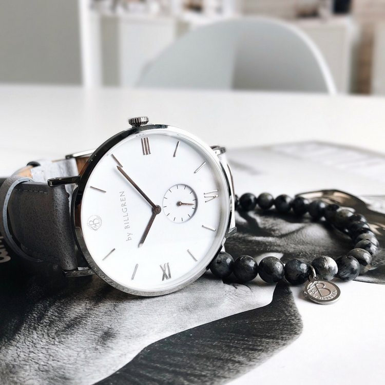 Gustaf Watch, white/grey + beaded bracelet, grey set