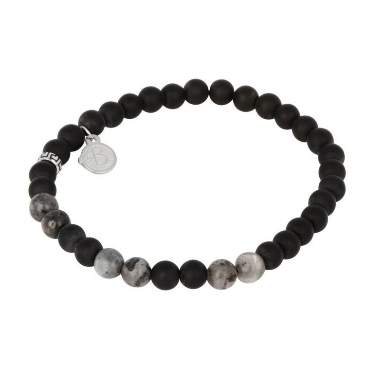 Set med läderklocka + Beadsarmband, grå