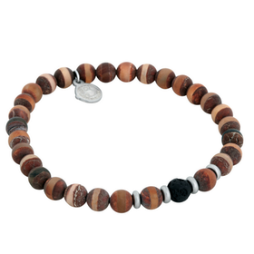Beads bracelet, Agate/Lava Stone, brown/black