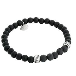 Beads bracelet, Lava Stone/Onyx, black