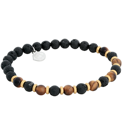 Beads bracelet, Tiger Eye/Lava Stone, brown/black/gold
