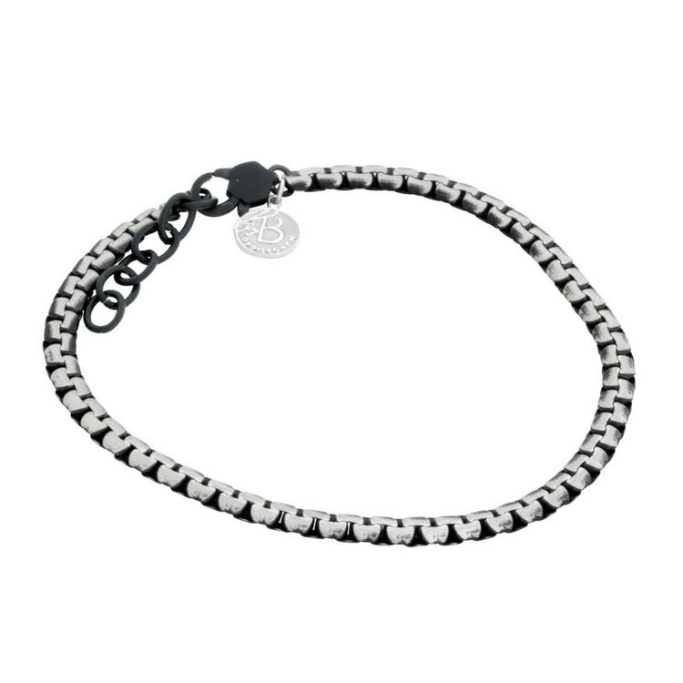 stålarmband svart silver länk
