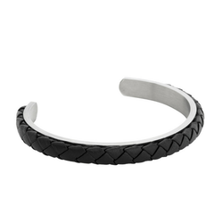 Steel bracelet, leather, black