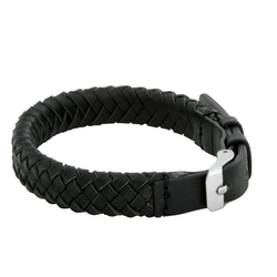 Leather bracelet, clasp, black
