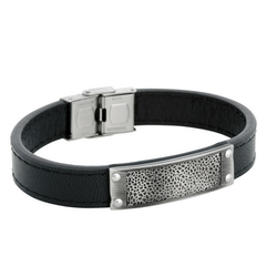 Leather bracelet, pattern, black
