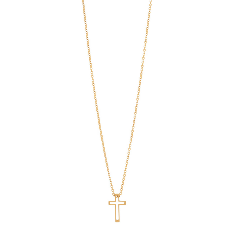Necklace, small crucifix, gold