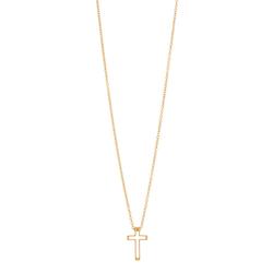 Halsband, litet kors, stål/guld