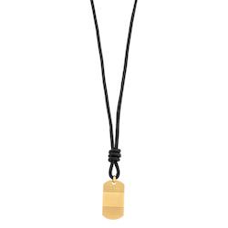 Halsband, hänge, svart/guld