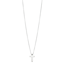 Necklace, small crucifix, silver