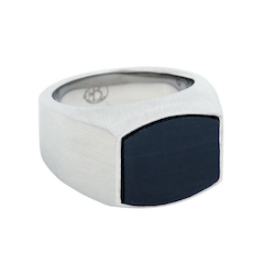 Signet ring, carbon, silver/black