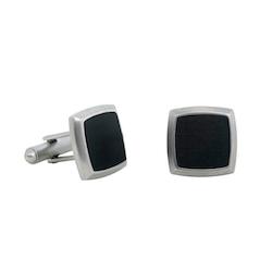 Manschettknappar, carbon, svart/silver
