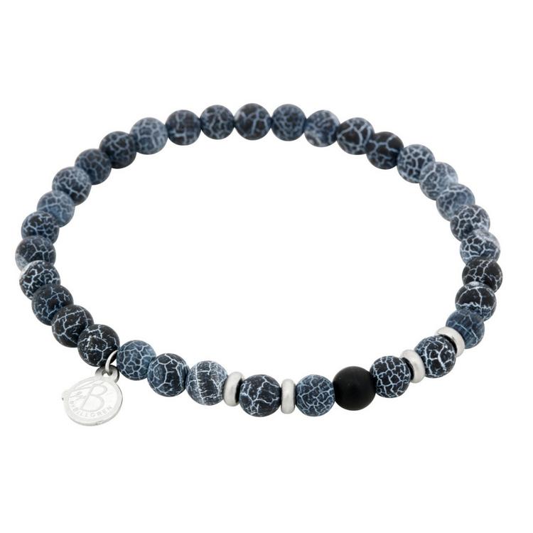 Bracelet set, beads, blue/black