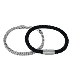 Bracelet set, chain/beads, steel/black