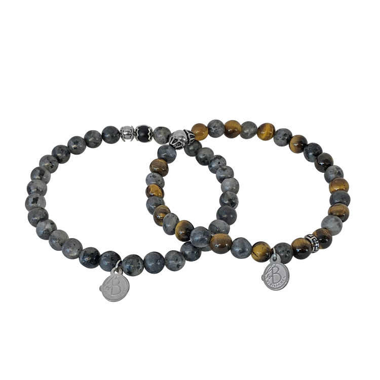 Braceletset, beads, earth / gray