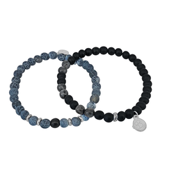 Bracelet set, beads, blue/black