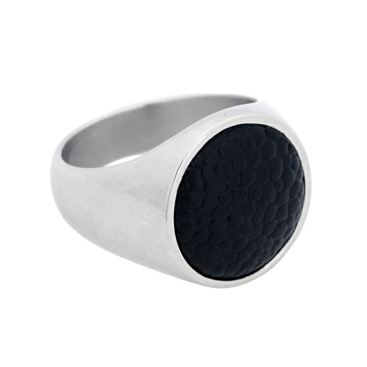 Signet ring, steel/leather