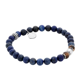 Beads bracelet, blue/brown, steel