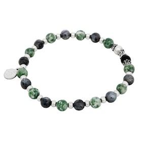 Beadsarmband, Jade, Jaspis och Onyx grön/grå