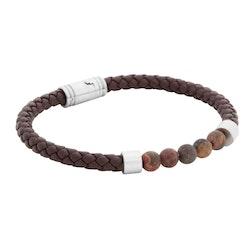 Leather bracelet/beads, brown/hazel