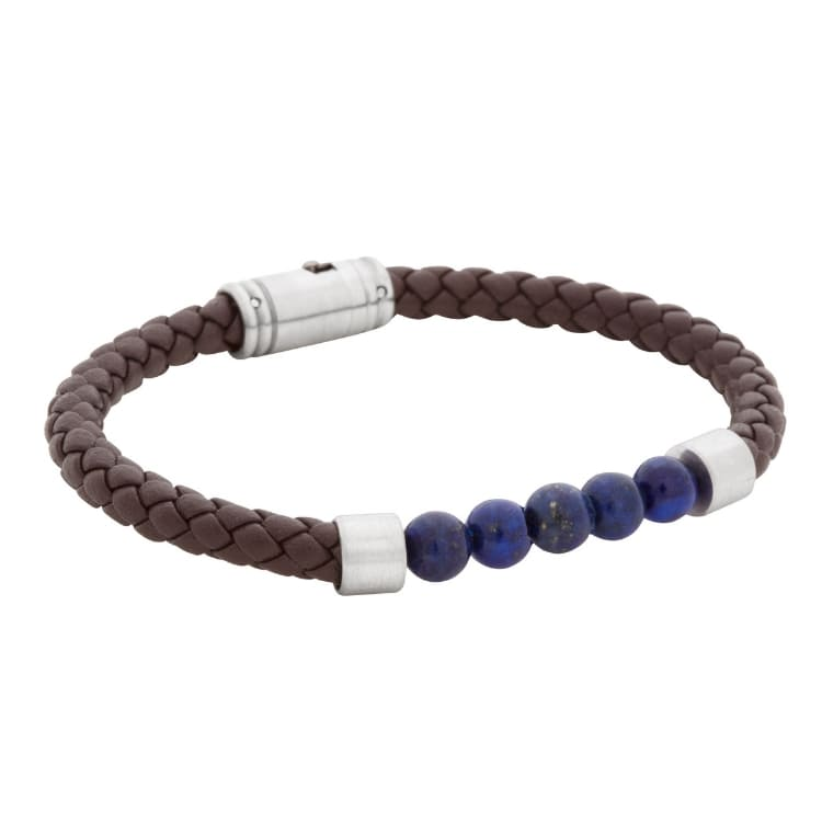 Leather bracelet/beads, brown/hazel