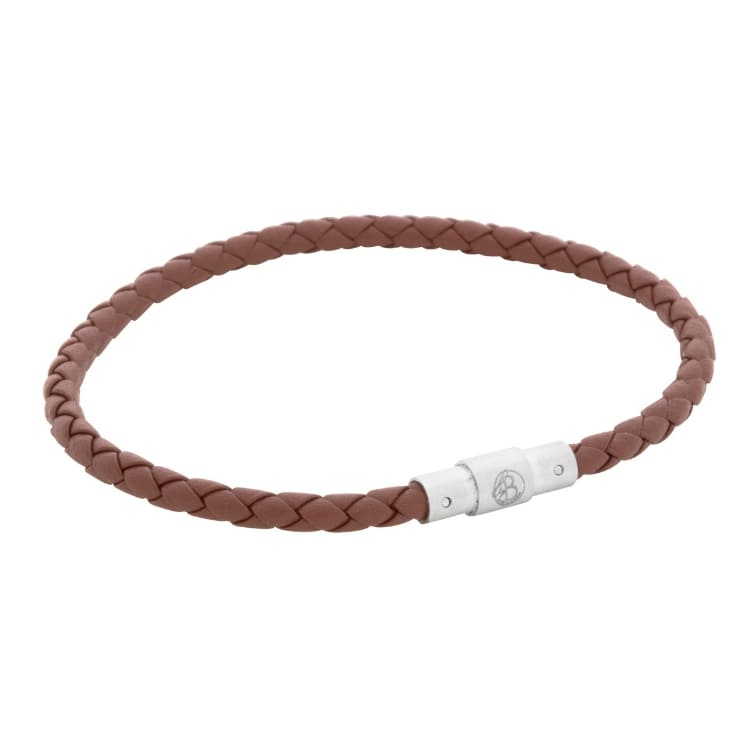 Leather bracelet, thin/braided, brown