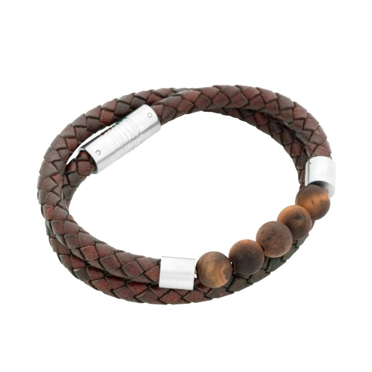 Leather bracelet, double/beads, black/charcoal