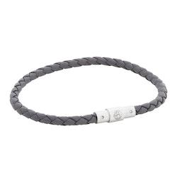 Leather bracelet, thin/braided, grey