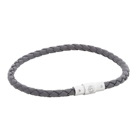 Leather bracelet, thin/braided, grey