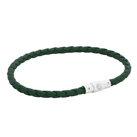 Leather bracelet, thin/braided, green