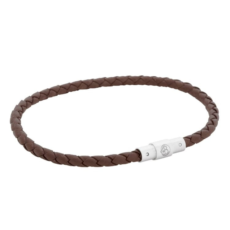 Leather bracelet, thin/braided, cognac