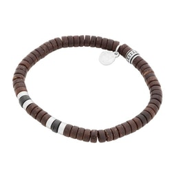 Bracelet, coconut, brown/black/steel