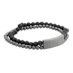 Bracelet, onyx/steel, grey/black