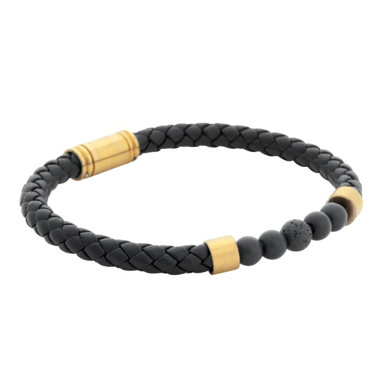 Leather bracelet/beads, black/gold
