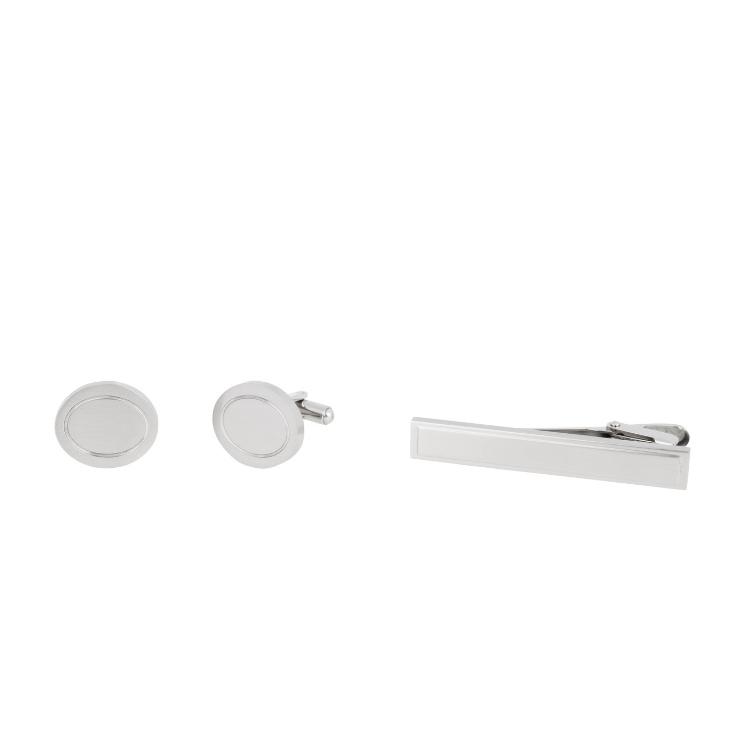 Manschettknappar slipnål set silver