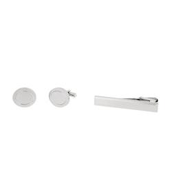 Cuff links/Tie pin, set, silver