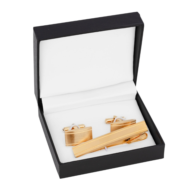 Cuff links/Tie pin, set, gold