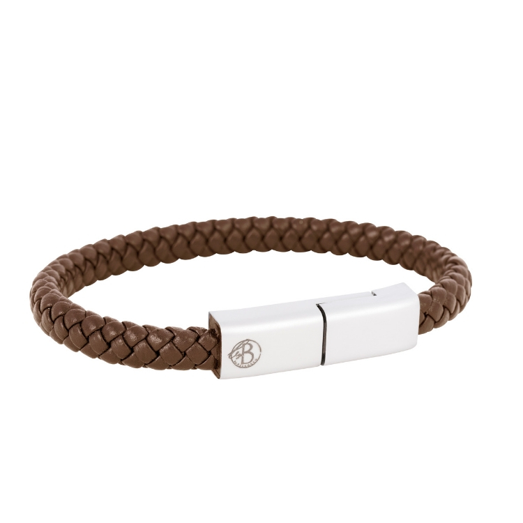 Cable bracelet, leather, brown/black