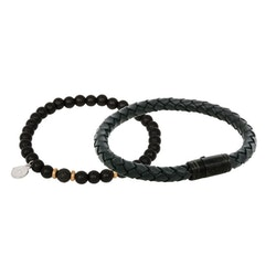 Bracelet set, beads/leather, black/gold
