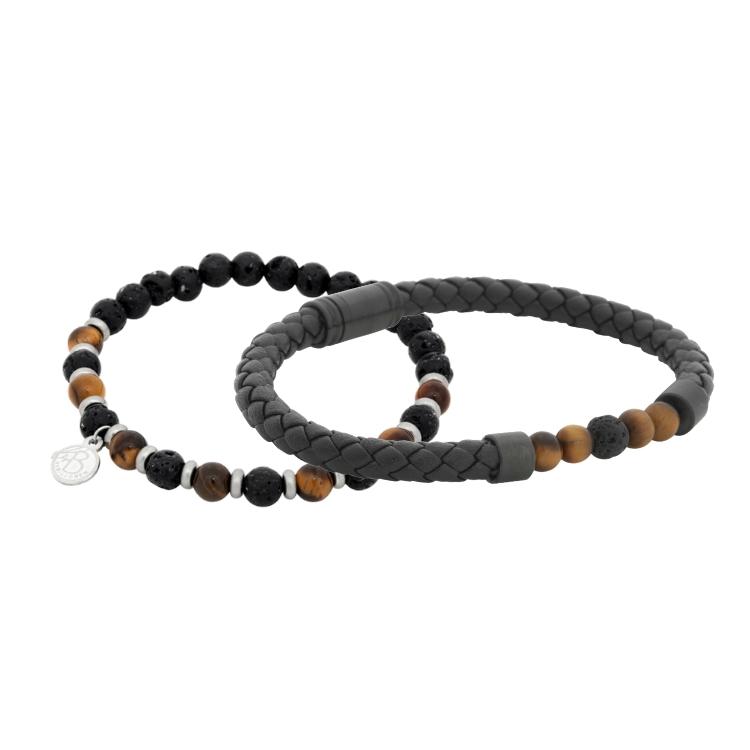 armbandsset läder beads svart brunt