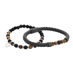 Armbandsset, läder/beads, svart/brun