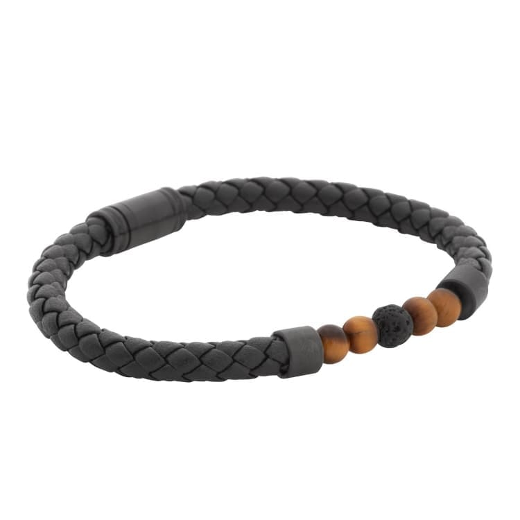 Bracelet set, leather/beads, black/brown