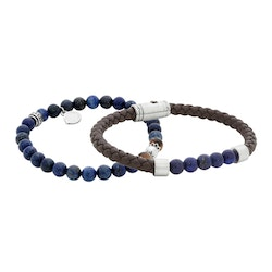 Bracelet set, beads/leather, brown/blue